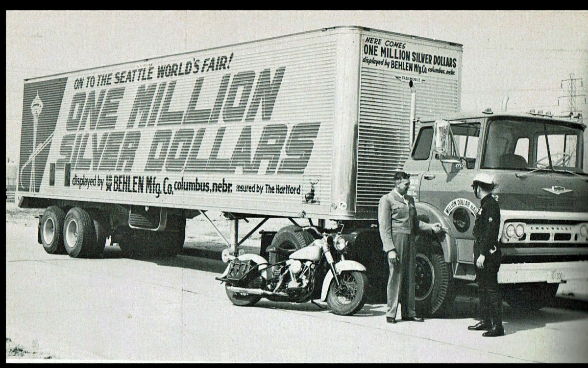 """The coins were hauled cross-country in two 15-ton semis. """"At each overnight stop, thousands got a preview of 'all that money.'"""""""