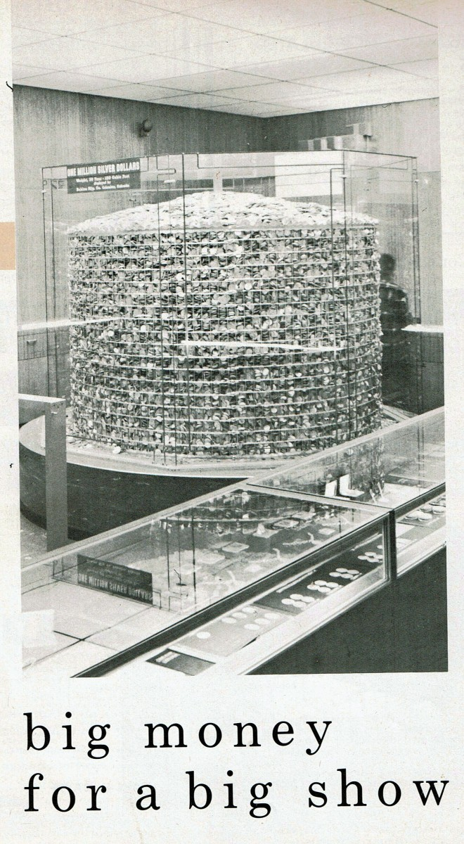 The corn crib holding the 1 million silver dollars. Most of the coins were in mint-sealed bags over which were poured 200,000 Peace dollars.