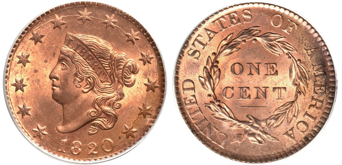 1820 Coronet Head large cent. These types were the last to be made of all copper.