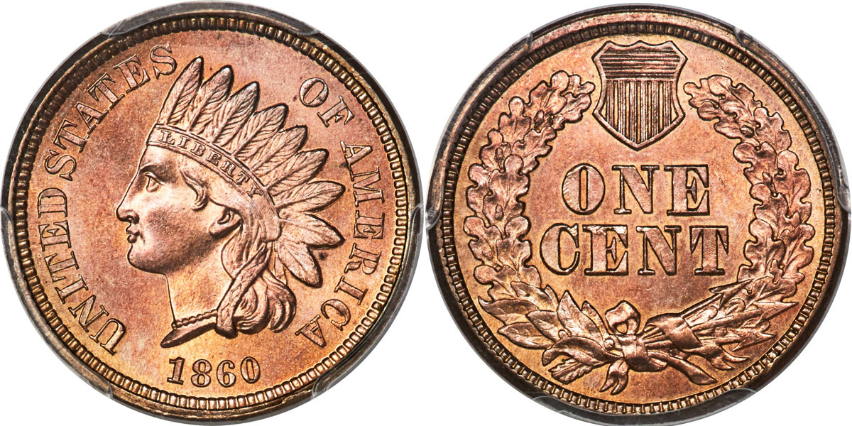 The Indian Head cents underwent changes such as the addition of the shield and the switch to the oak wreath on the reverse in 1860.