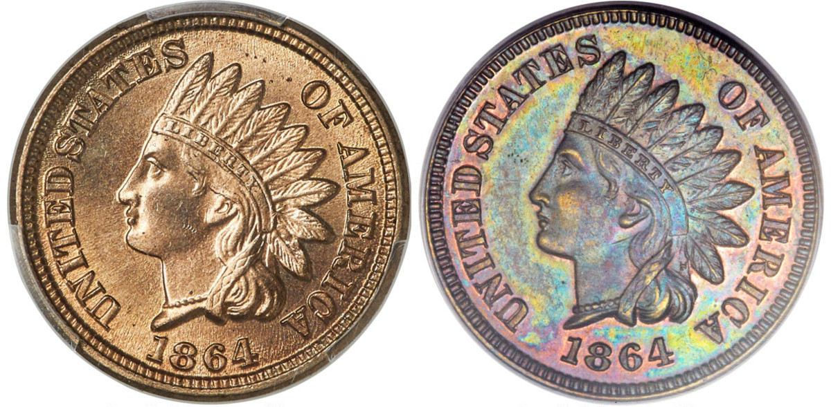 """These two cents from 1864 show the difference between the two types minted that year, the first having the old composition, the second having the newer alloy and the added """"L"""" in the ribbon."""