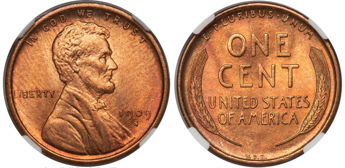 A 1909-S Indian Head cent and a 1909-S VDB Lincoln cent.