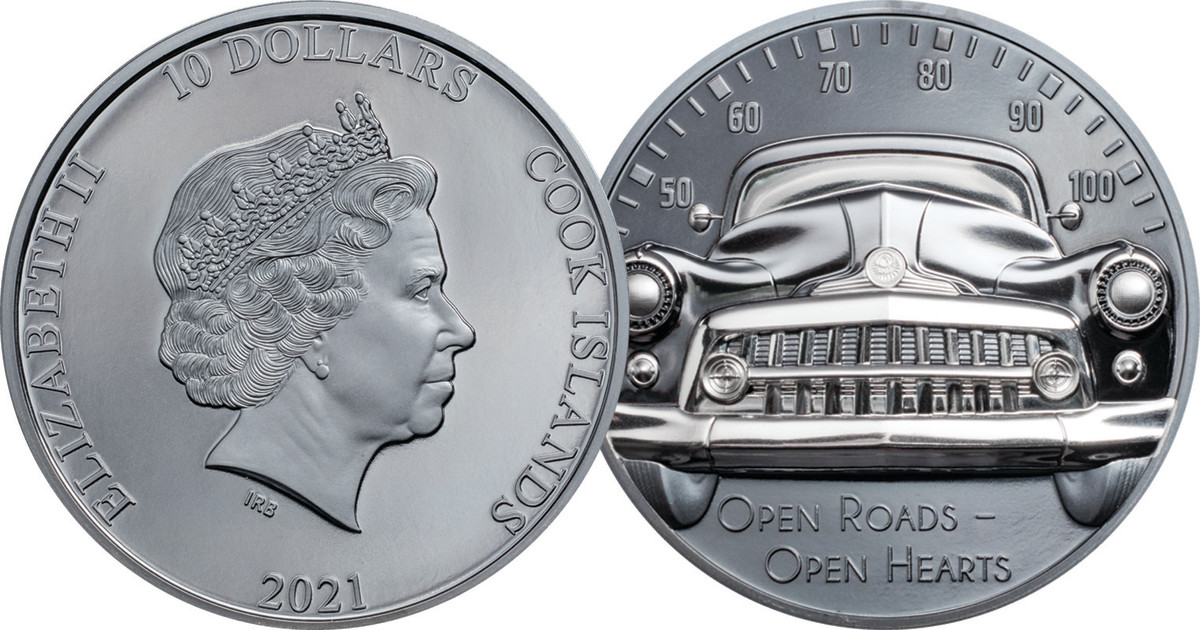 The road is the limit with this silver $10 silk finish black silver proof coin created by CIT Coin Invest and struck with B. H. Mayer's Smartminting® technology for extremely high relief.
