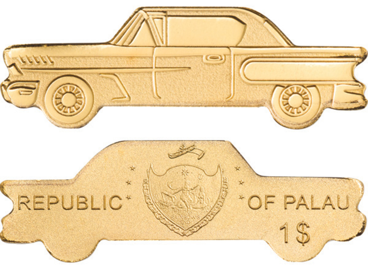 An accompanying tiny silk finish $1 gold coin has been struck for release from Palau. Though undated, it is a 2021 issue designed to carry through on the driving experience.