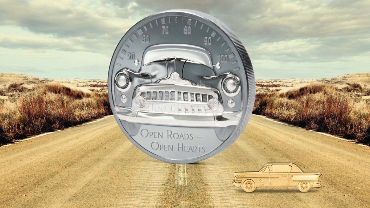 While coins featuring cars often concentrate on depicting a certain model, the Open Roads – Open Hearts coin from CIT emphasizes the experience of driving.
