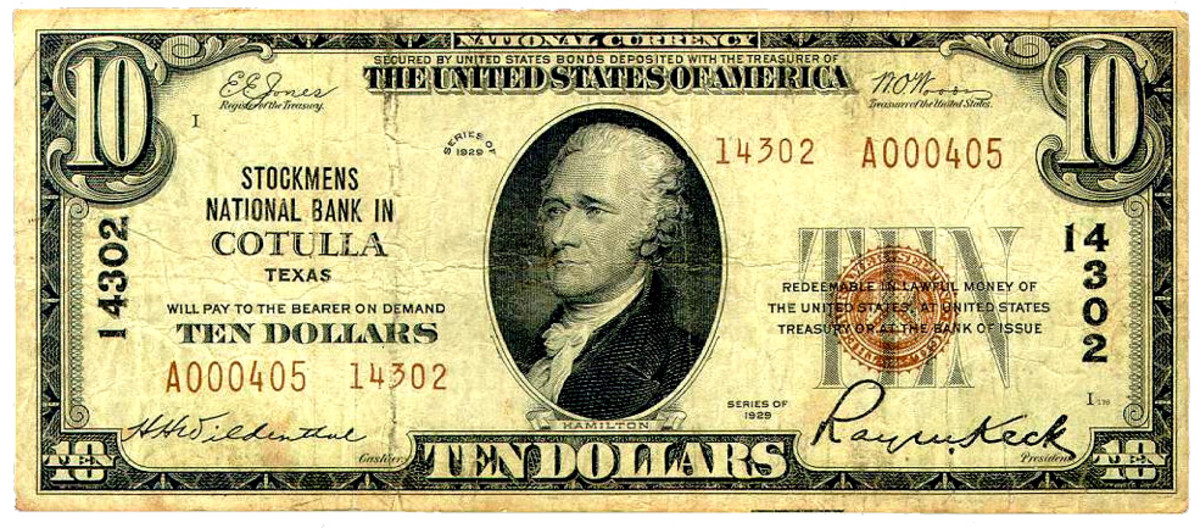 This Cotulla note bears the highest charter number to appear on a BEP overprinting plate. See Table 2. Heritage Auction Archives photo.