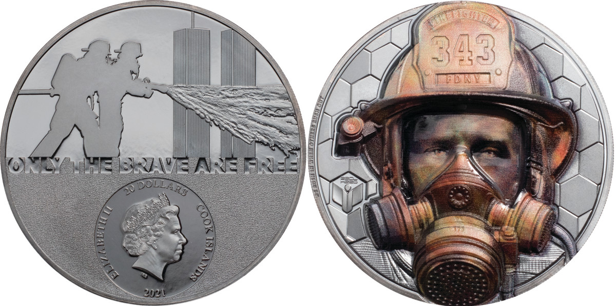 The risk and trauma in the life of a firefighter comes through in this bold colorization of an FDNY crew member tired and dirty from the work of the Real Hero. This is the 20 Dollar 3 ounce silver version.