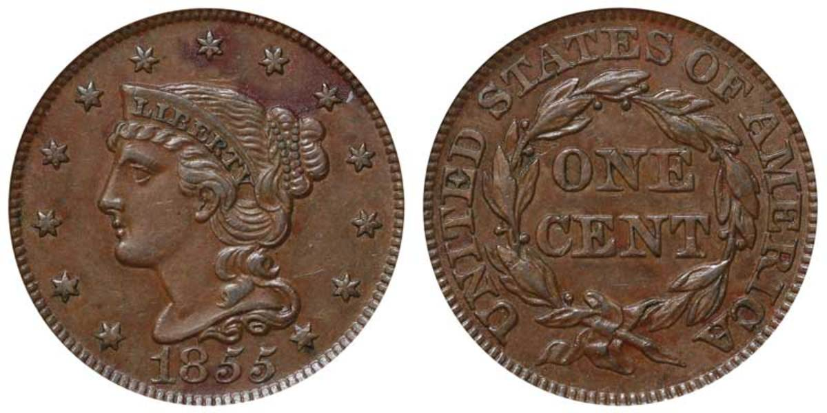 "1855 Coronet Head large cent, ""Upright 5s"" variety. (Image courtesy usacoinbook.com.)"
