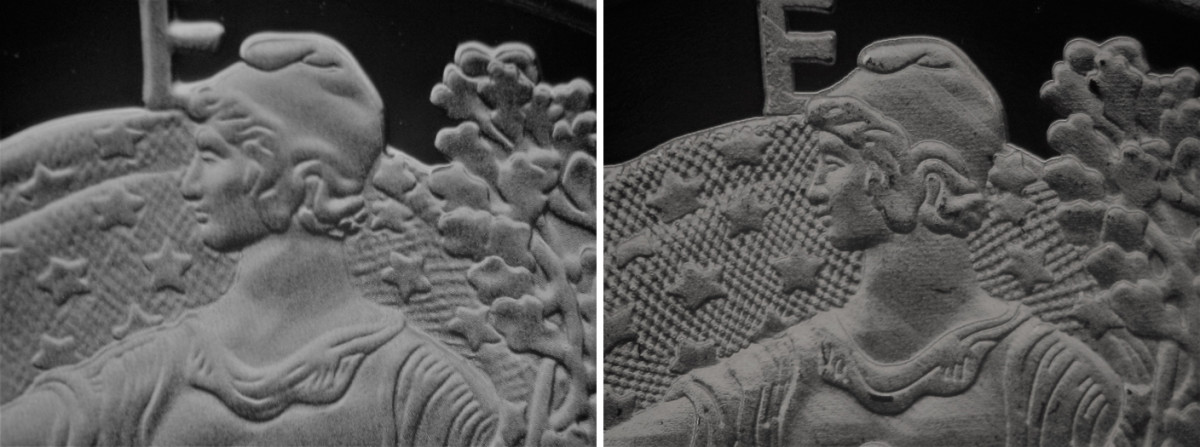 """Note the smooth surface and """"artful"""" design on the obverse of the genuine coin at left and the rough, horizontally furrowed surface on the counterfeit at right. (All images courtesy ICG.)"""