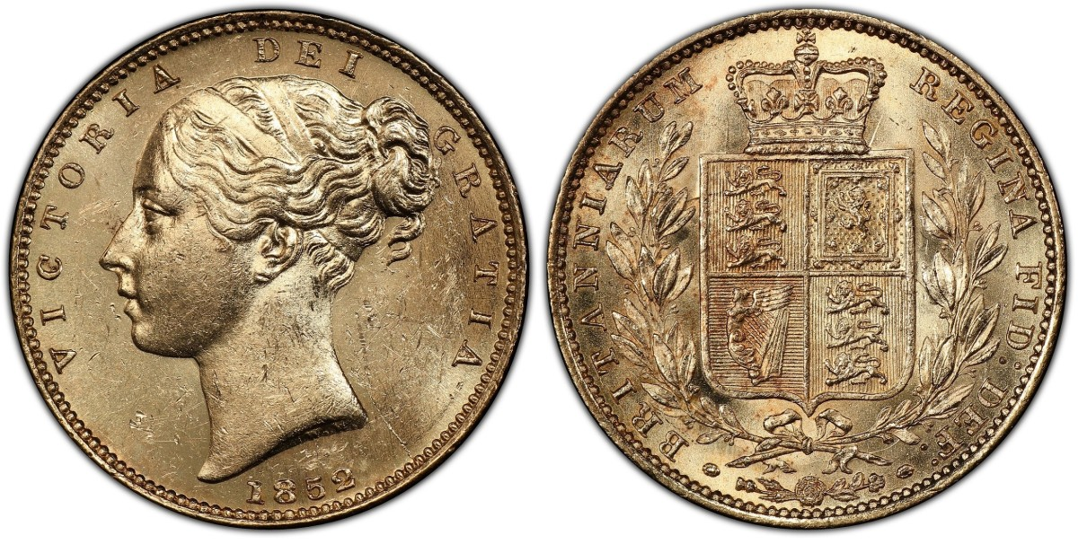 This 1852 Great Britain Queen Victoria Sovereign (S.3852D; Fr-387e; KM-736.1, PCGS MS-63+) recovered from the SS Central America in 2014 had a pre-sale estimate of $1,250 but sold for a record $4,080 Photos courtesy of Professional Coin Grading Service.