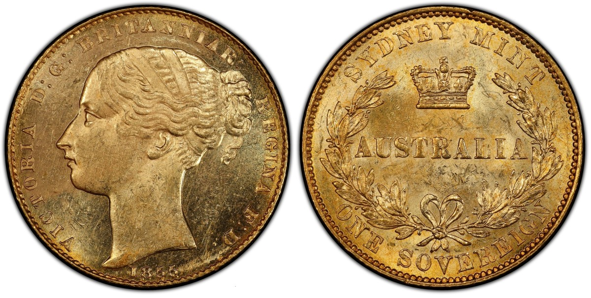 Recovered from the SS Central America, this first year of issue Australia 1855 Sydney Mint gold Sovereign (Fr-9; KM-2, PCGS MS-62+) sold for $55,200 against a pre-sale estimate of $25,000.