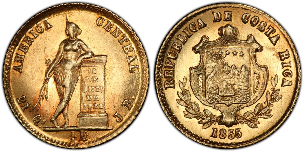 Estimated at $500, this SS Central America sunken treasure Costa Rica 1855 JB 1/2 Escudo (Fr-10; KM-97, PCGS MS-63) sold for eight times that amount at $4,080 in an auction.