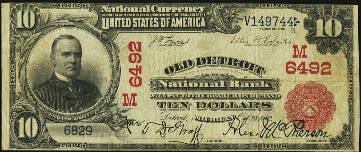 A $10 1902 Red Seal note from the Old Detroit National Bank. Image courtesy of Heritage Auctions.