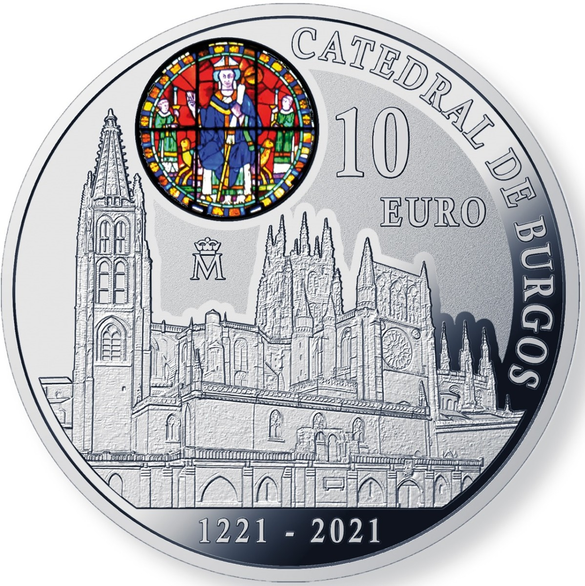 The 800th Anniversary of the Cathedral of Burgos is celebrated on a new 10 Euro silver coin of Spain. The stained glass feature is a highlight of this very detailed new issue.