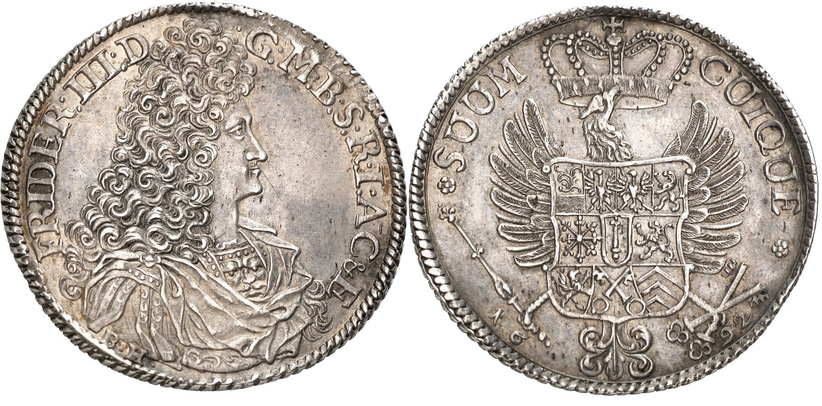 This is the second known specimen of the Brandenburg KM#584, a 1692 1/2 reichstaler of Frederick III struck at the Minden mint. It sold for about $78,000, which feels to me like a crazy good bargain.