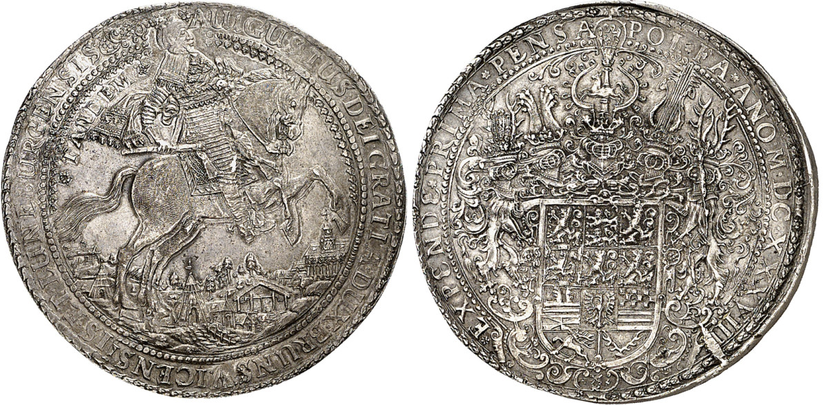 This 10 reichstaler of Brunswick-Wolfenbüttel was struck in 1638 at Zellerfeld to celebrate the emperor's confirmation of succession. This massive löser is estimated to sell for more than $210,000.