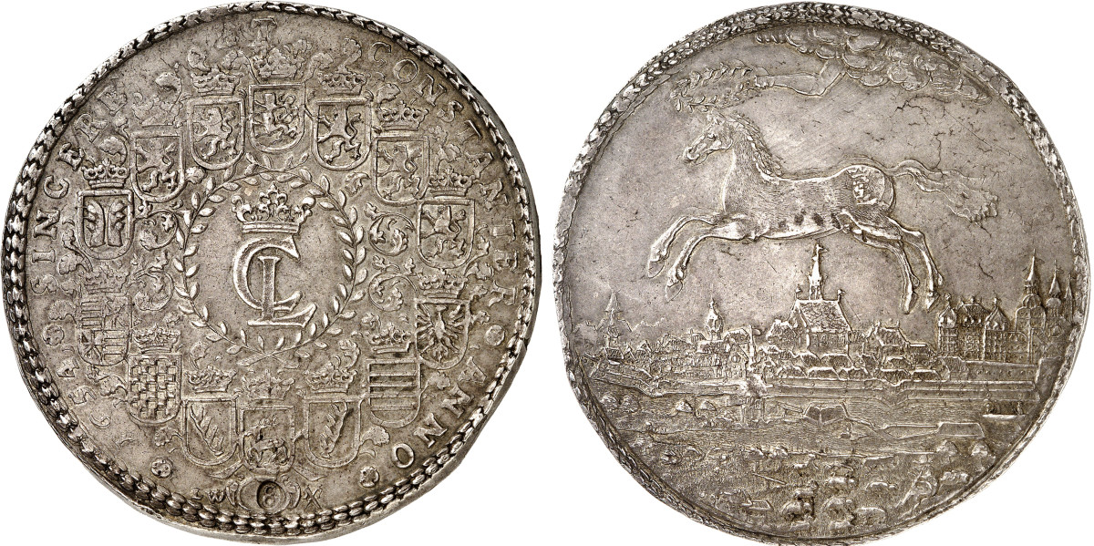 A Christian Louis 1654 8 reichstaler of Brunswick-Lüneburg-Celle, perhaps the only specimen available on the market, is expected to sell for over $140,000. Notice the small 8 in oval stamped in at the bottom of the obverse. While all multiple Talers are measured by weight, some also carry a denomination mark such as this.