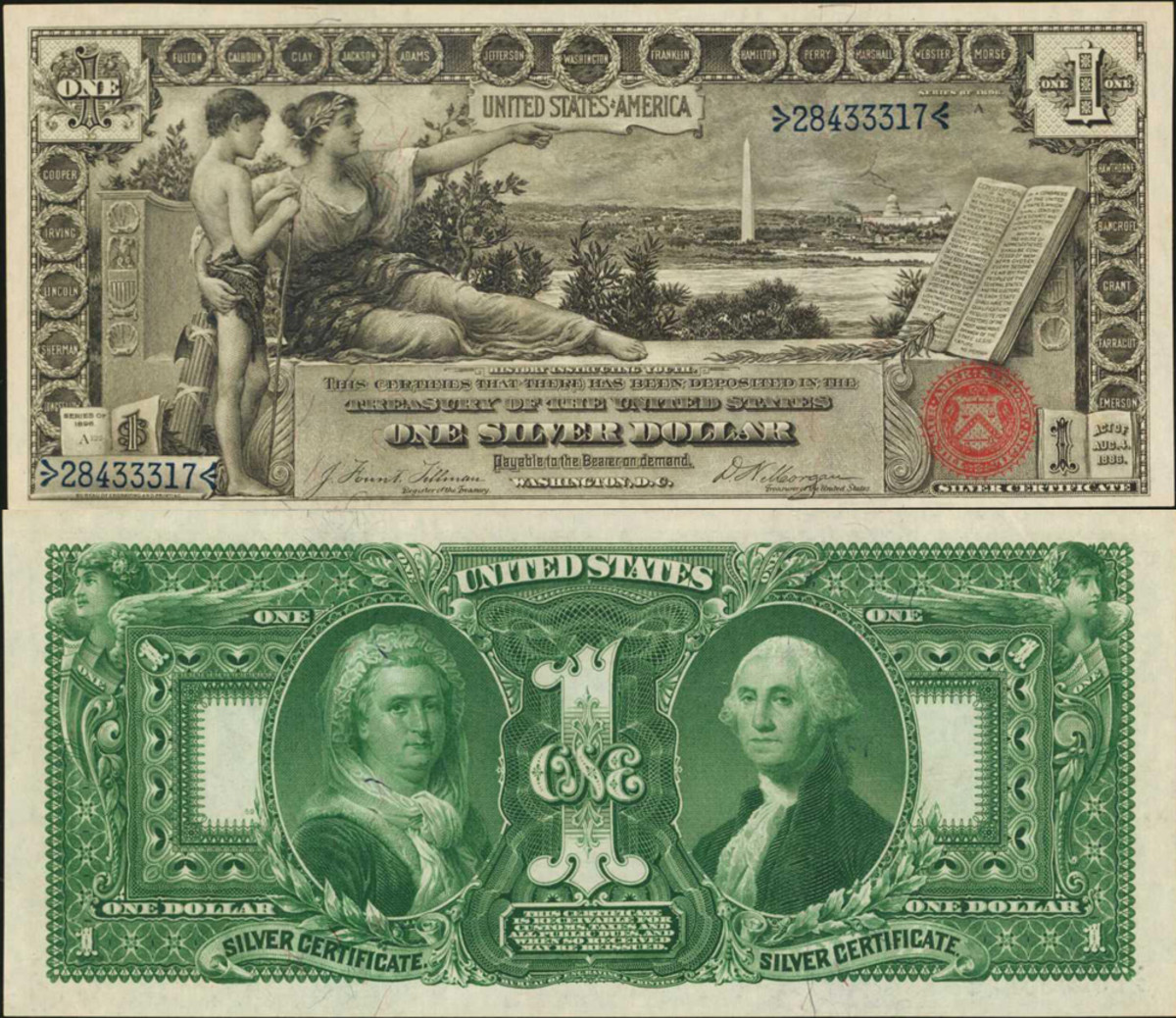 An 1896 $1 Silver Certificate, graded PMG Choice Uncirculated 64 EPQ. This note was estimated at $2,000-$3,000 and sold for $4,080, well above the estimated price. The front design can be seen with stunning detail, including names of important Americans lining the border, and a red seal in the bottom right.