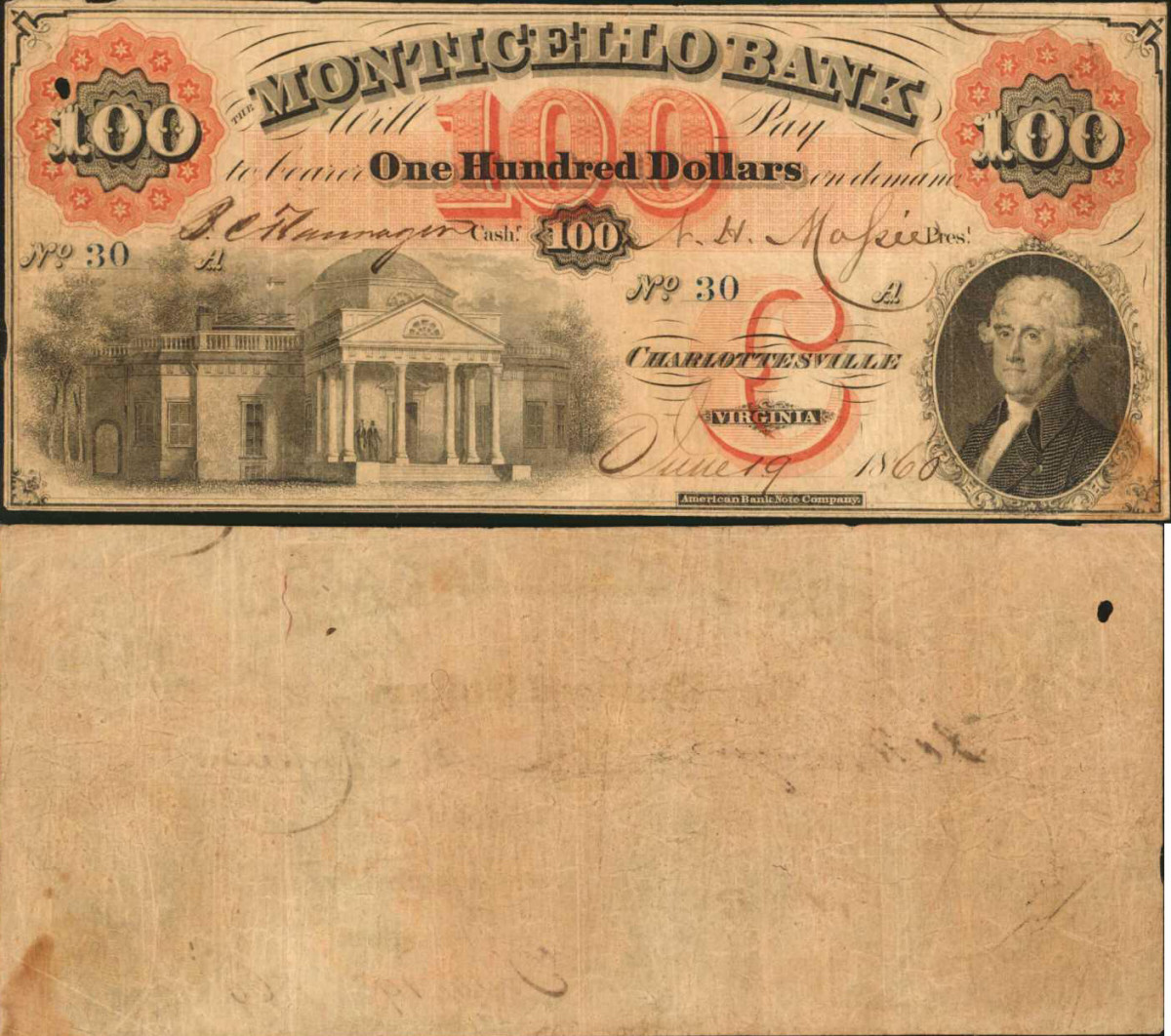 This 1860 $100 note from the Monticello Bank in Charlottesville, Virginia is graded PMG Very Fine 20. An image of the bank can be seen at left, and Jefferson at right. The note was estimated at $600-$800 and realized $2,280.