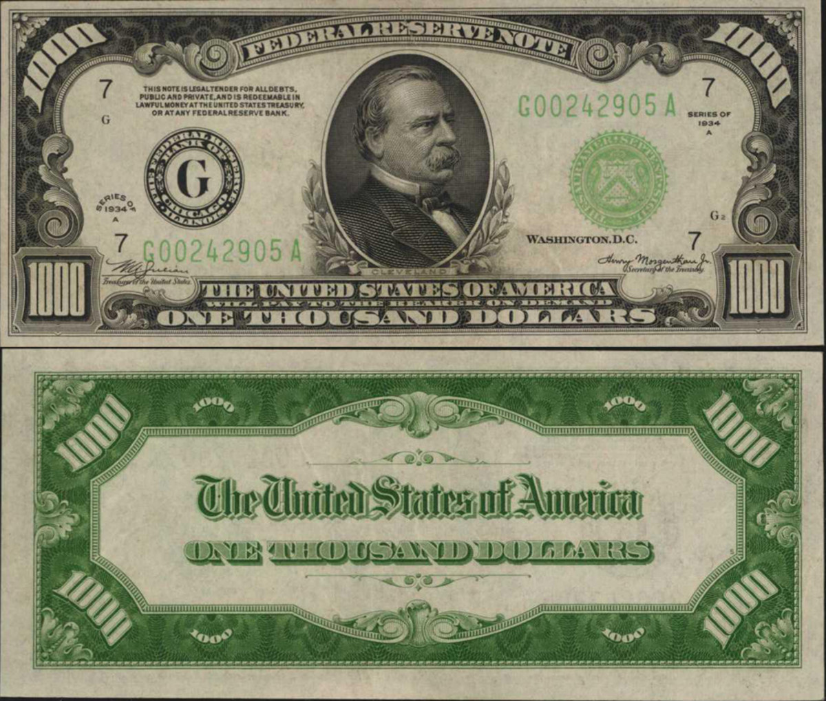 This 1934A $1000 Federal Reserve Note from Chicago was estimated to sell for $3,000-$4,000 and sold for $4,320. The bold design and dark green overprints make this beautiful note a nice addition to a collection.