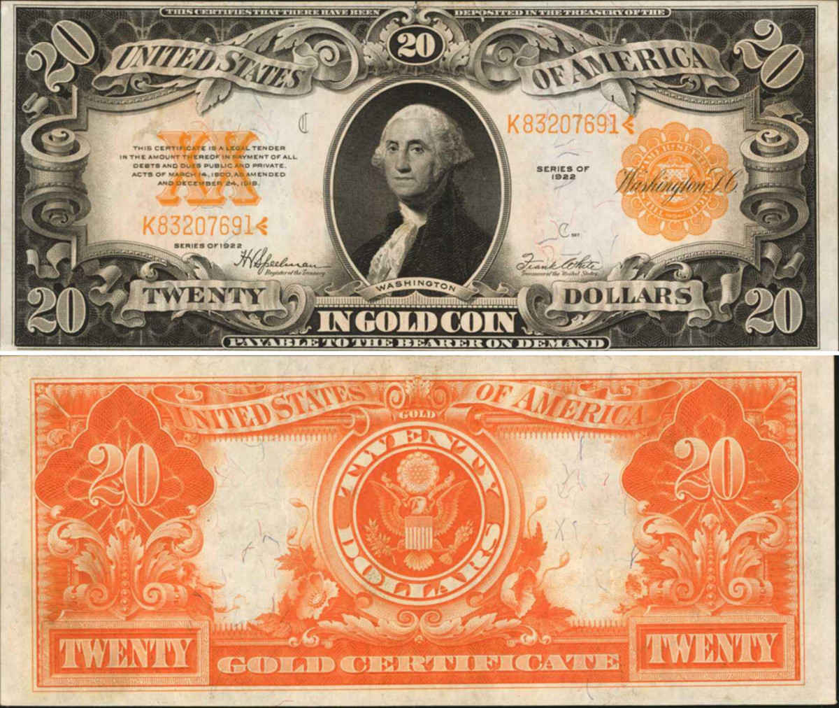 1922 $20 Gold Certificate graded PMG Choice Uncirculated 63 realized $1,800, when it had been estimated at $800-$1,200. The gold seal and serial number provides bright contrast, adding to its eye appeal.