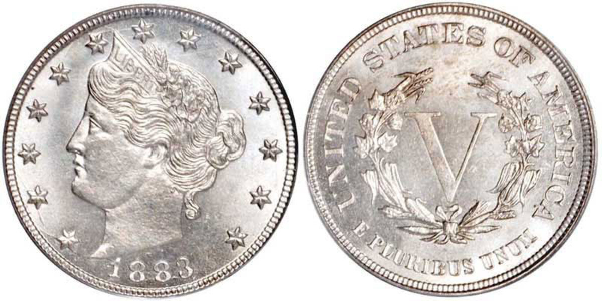 """When the Liberty Head nickel debuted in 1883, the word """"CENTS"""" was left off the coin's reverse. The design was revised to include the word under the Roman numeral """"V"""" that same year. (Image courtesy usacoinbook.com.)"""