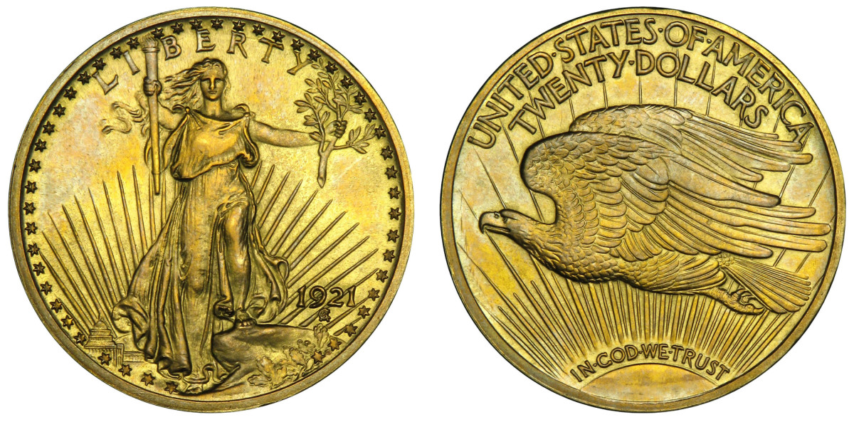 Not known to exist until 2006, this Roman Finish proof 1921 Saint-Gaudens double eagle owned by Brian Hendelson will be displayed by Heritage Auctions at the Summer 2021 FUN convention July 8-10. (Images courtesy of Brian Hendelson.)