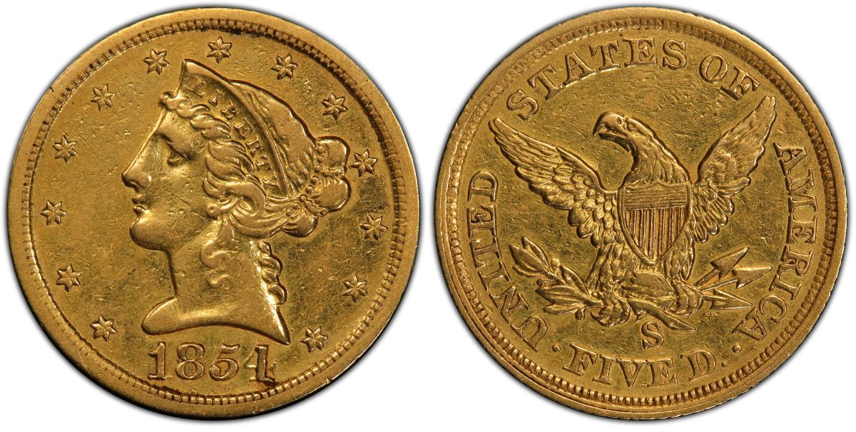 Discovered in 2018, the fourth known 1854-S half eagle will be displayed July 8-10 by Heritage Auctions at the Summer 2021 FUN convention in Orlando, Fla. (Images courtesy Professional Coin Grading Service.)