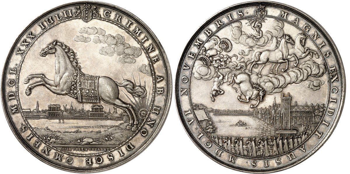 Medal of 1650 by Sebastian Dadler commemorating the death of William II. Very rare. Extremely fine to FDC. Estimate: 2,500 euros. From Künker auction 350 (2021), No. 1879.