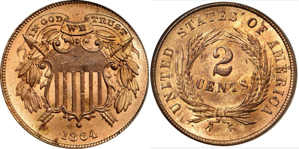 1864 Two-cent piece