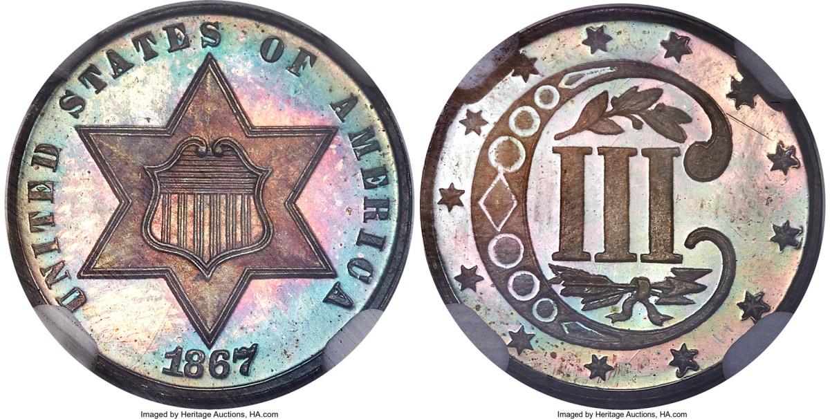 1867 silver 3-cent piece