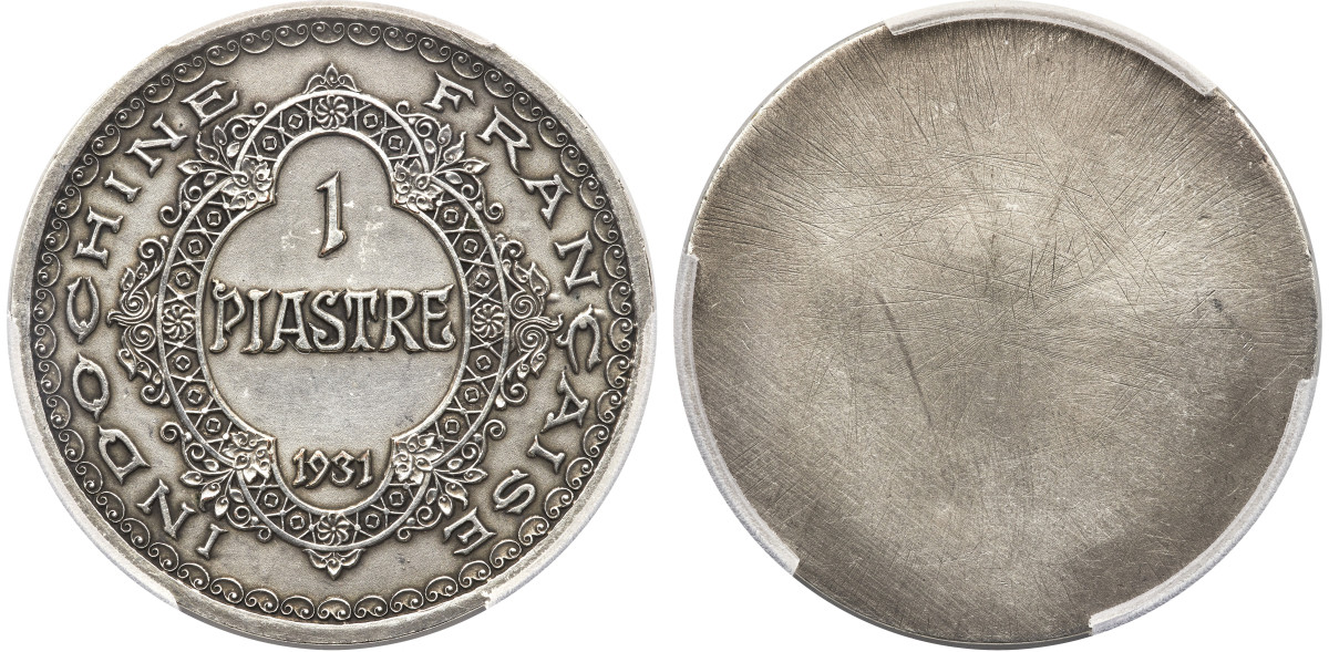 Both historically and numismatically unique, these large essai pieces of the classical French Indo-China 1931 Piastre found a new home for $19,200 as a set. Notice the small inscription at the edge below the bust.