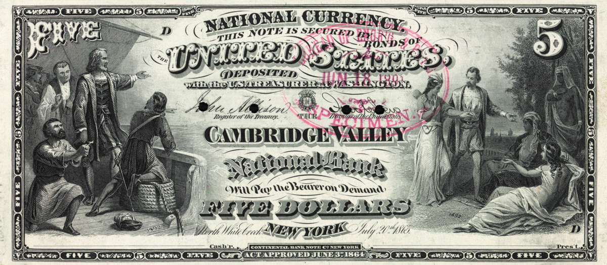 North White Creek was left on the 5-5-5-5 plate after the town name change to Cambridge, even through the BEP otherwise had to alter the plate to print Series of 1875 notes.