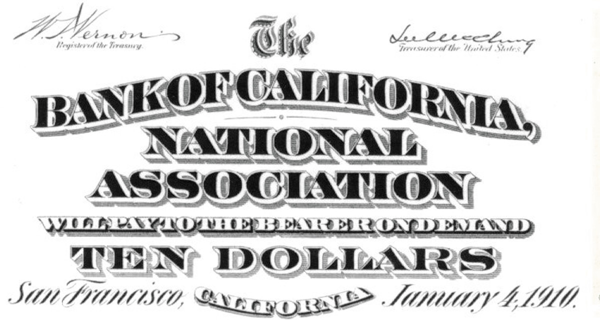 The bankers omitted the town name from inside the quotes on their organization certificate if the only place you find it is in the script postal location as on this San Francisco Series of 1902 proof.