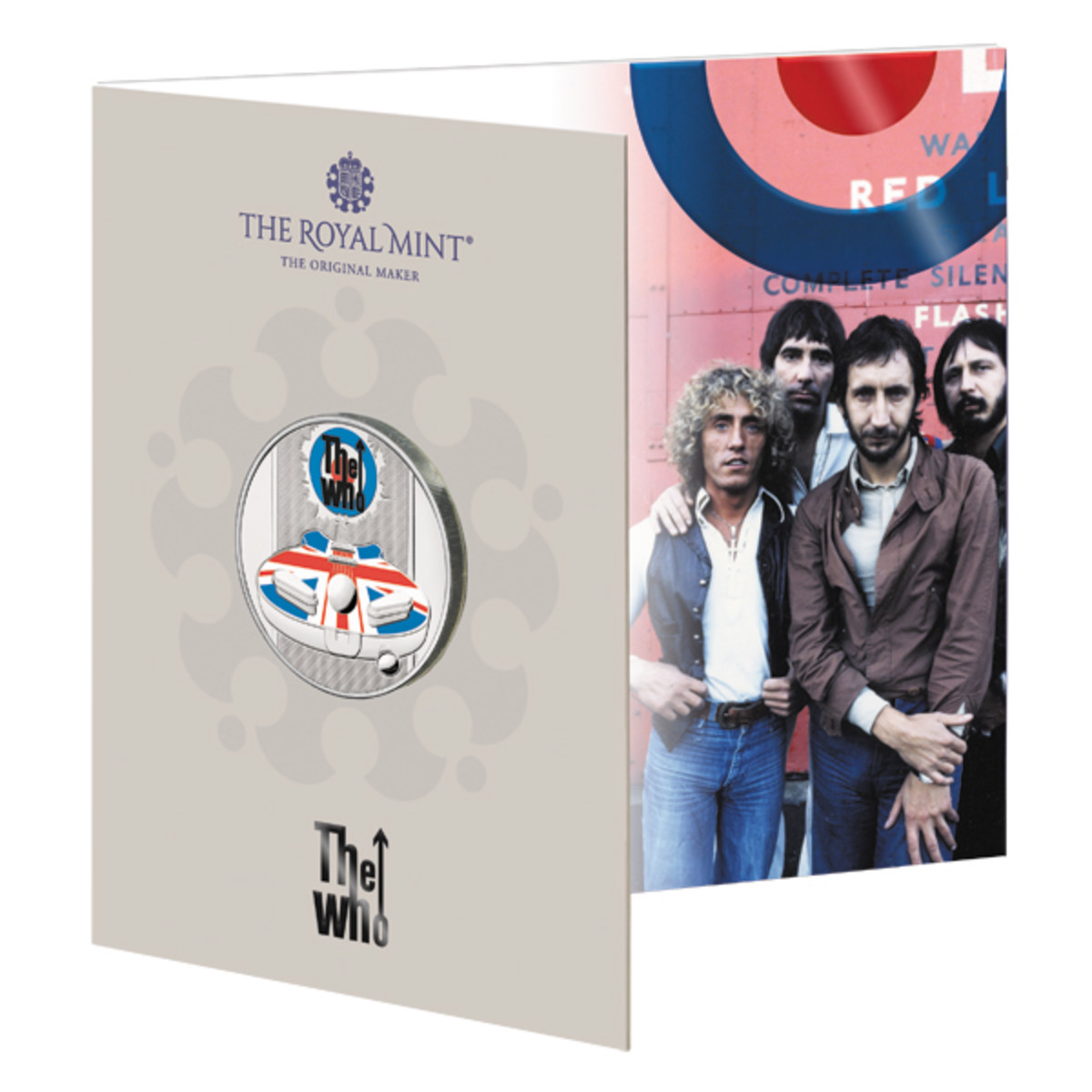 The Who as we remember them in the early days of their highly creative period in the midst of their greatest fame are featured on the card cover art for the pad printed BU copper-nickel packaging.
