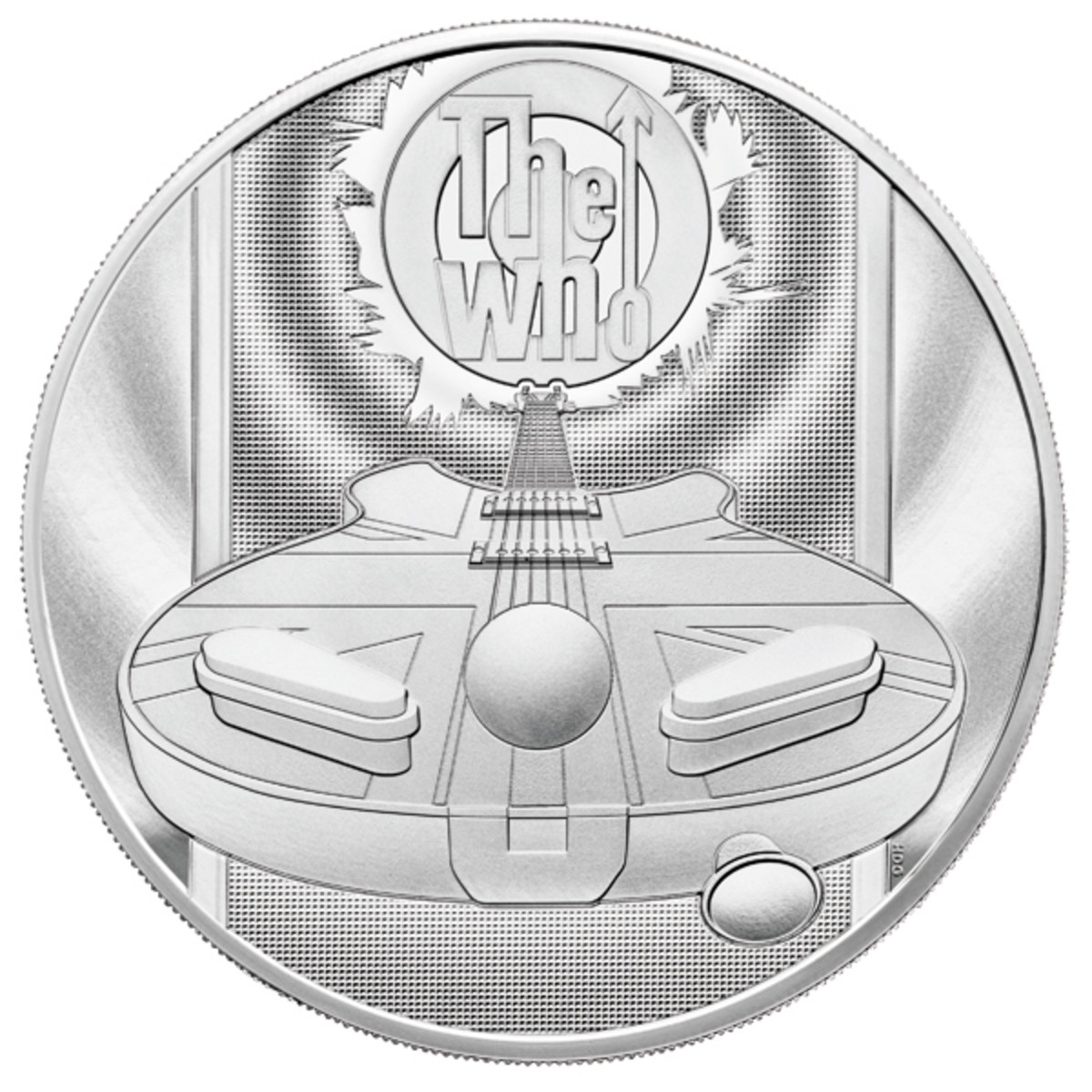 Larger proof pieces in the collection feature rings of reverberating sound waves emanating from the speaker at the highly recognizable bull's-eye The Who logo. You can see this feature on the five ounce silver, two ounce silver or gold and the gold kilo versions.
