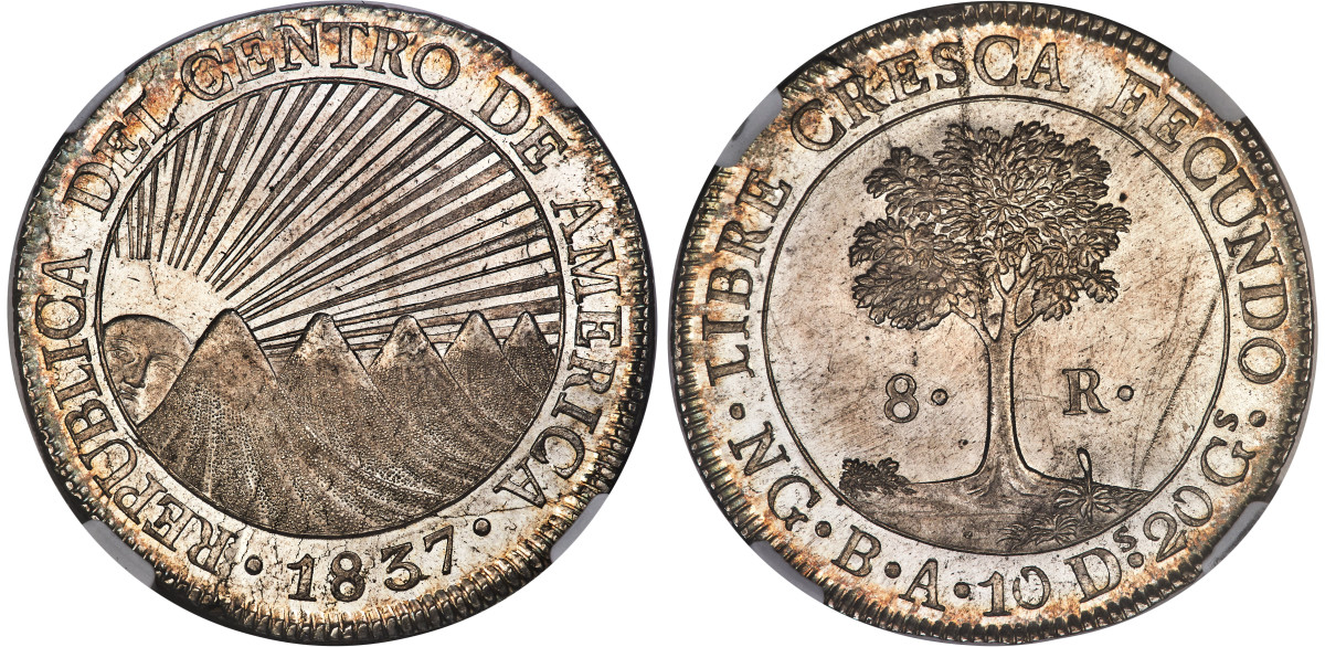 The finest know certified example of the of the date, type and actually given it is an MS66 star designation, the finest of any Central American Republic 8 Reales. It may not be a bank breaker, but it is truly the King of Central American coinage.
