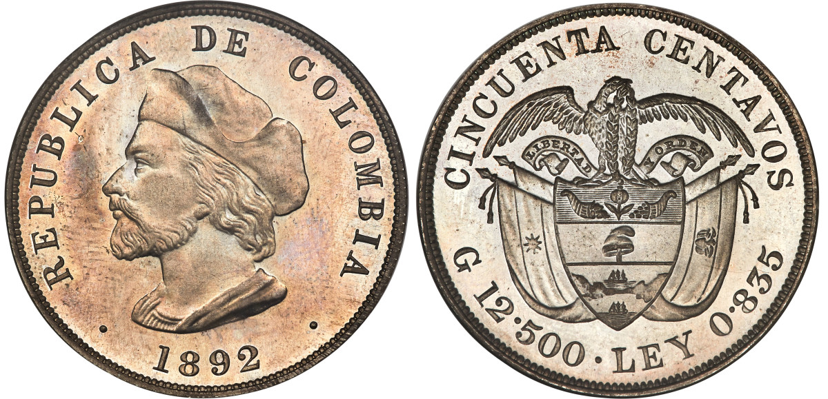 The modern look of this late 19th century Colombian 50 centavos gives the impression of a common coin. The truth is that this coin is a key proof issue of Colombia with a mintage of only three pieces.