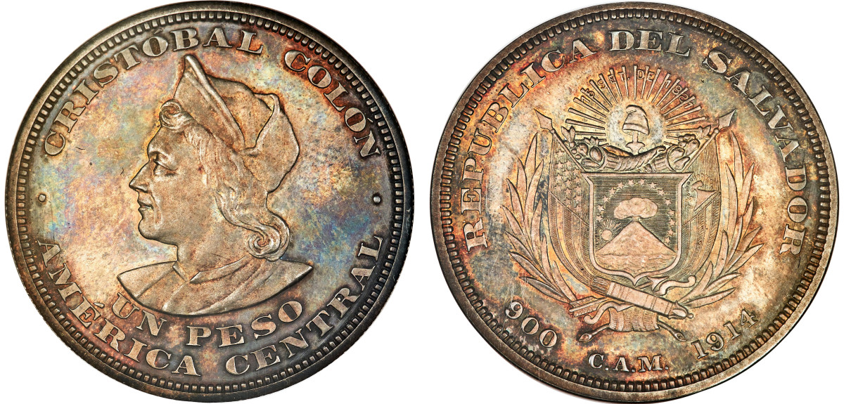 With a tiny mintage of 20 pieces, this 1914 Peso of El Salvador is a rarity not to be missed. Grading NGC PR64 and sporting beautiful toning, this coin will be one of many focal points for bidding in the Heritage ANA auction.