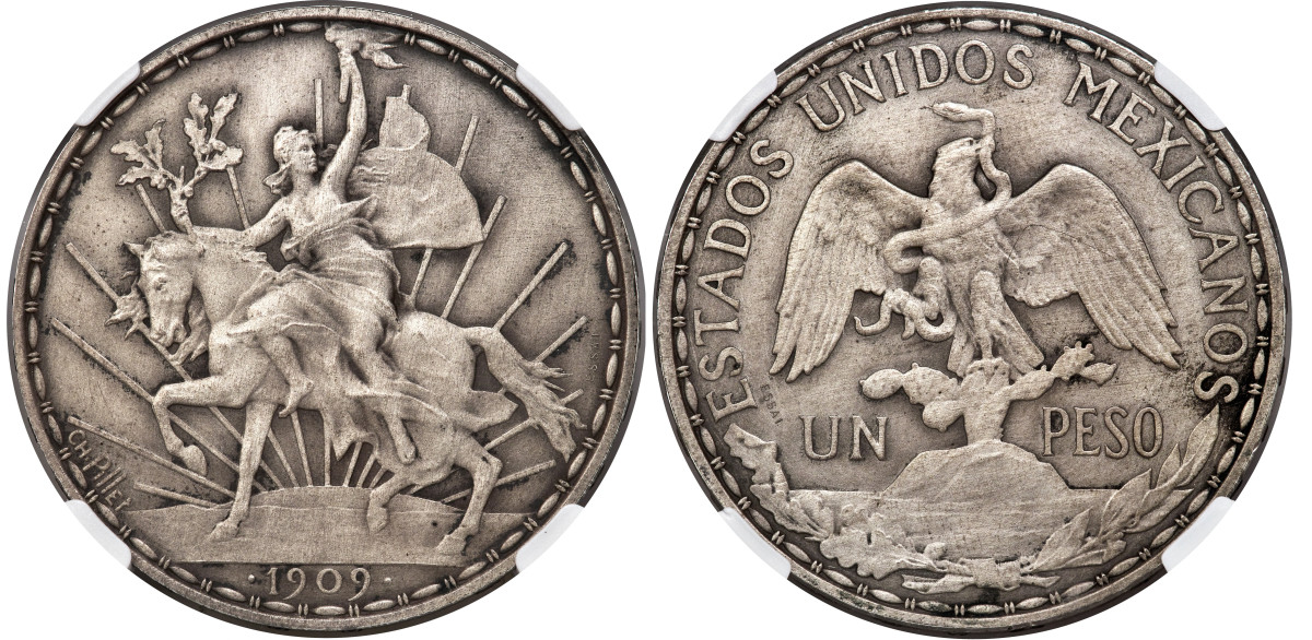 Ex-Davenport and the finest known of this rare Matte proof essai strike with raised edge legends, this Caballito Peso will be of extremely high interest to modern Mexican coinage collectors.