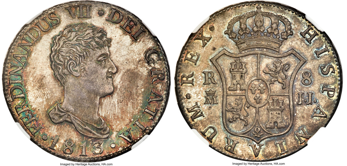 Very few dates in the KM142 8 Reales varieties of Peru are ever found in mint state, but this coin is an MS63 exception. 1825 is the first date of the initial type of KM142.1 with the very small head on a narrow standing liberty.