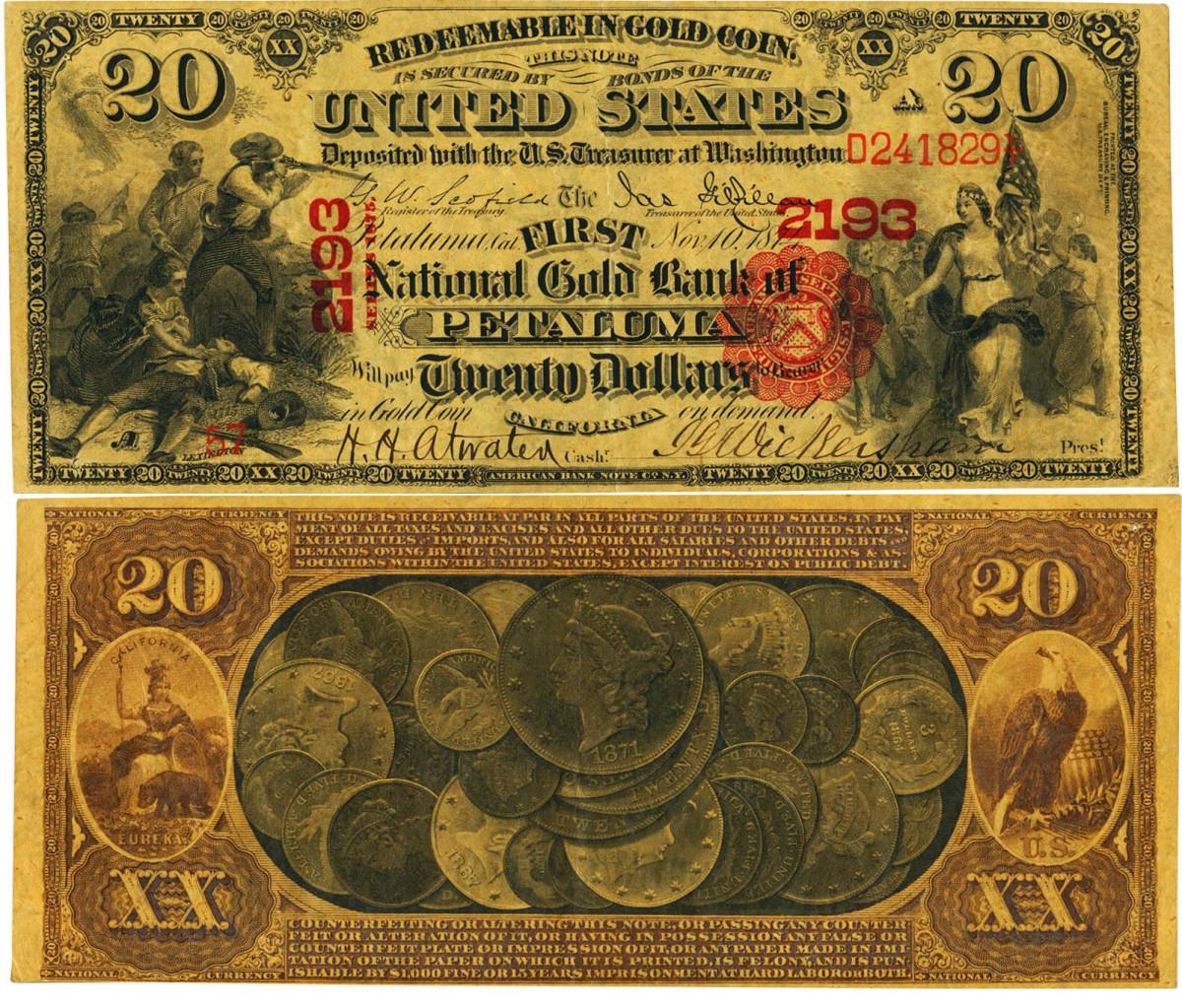 $20 1875 National Gold Bank Note from Petaluma, CA.