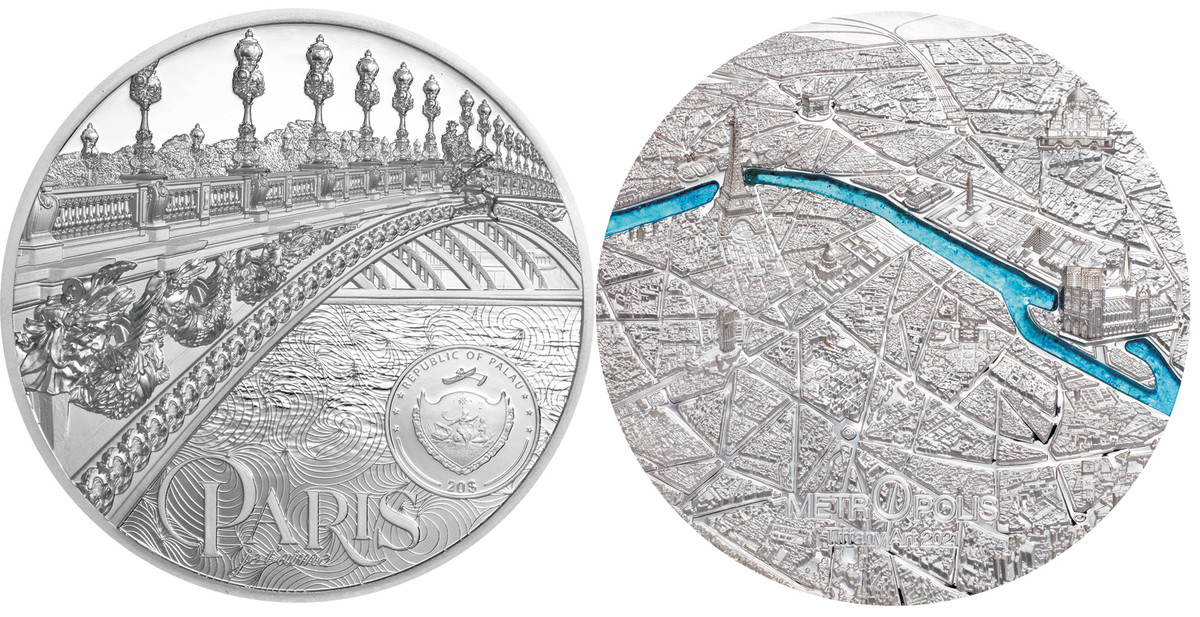 The Metropolis Paris $20 3 ounce silver strike offers all the detail seen in the larger Kilo silver coin. The Tiffany glass used for this version is turquoise.