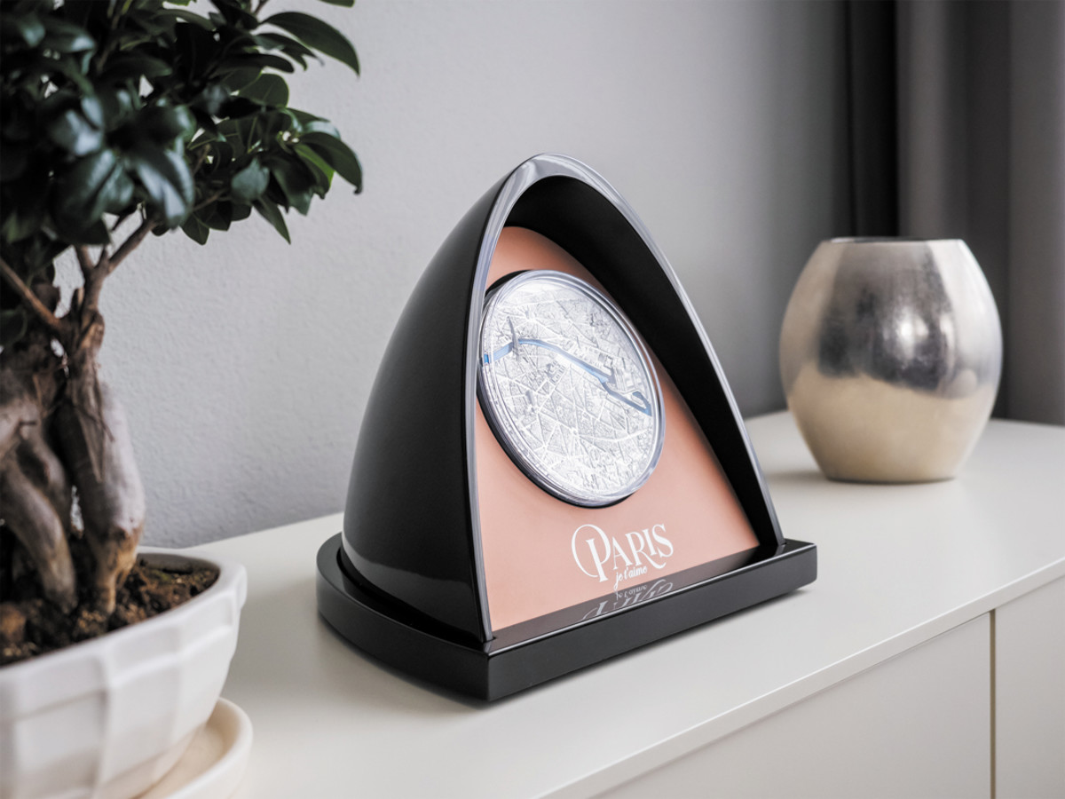A marvelous designer display case for home or office is part of the Kilo $50 silver package, making it possible for you to share your love of Paris and modern coinage with family and friends.