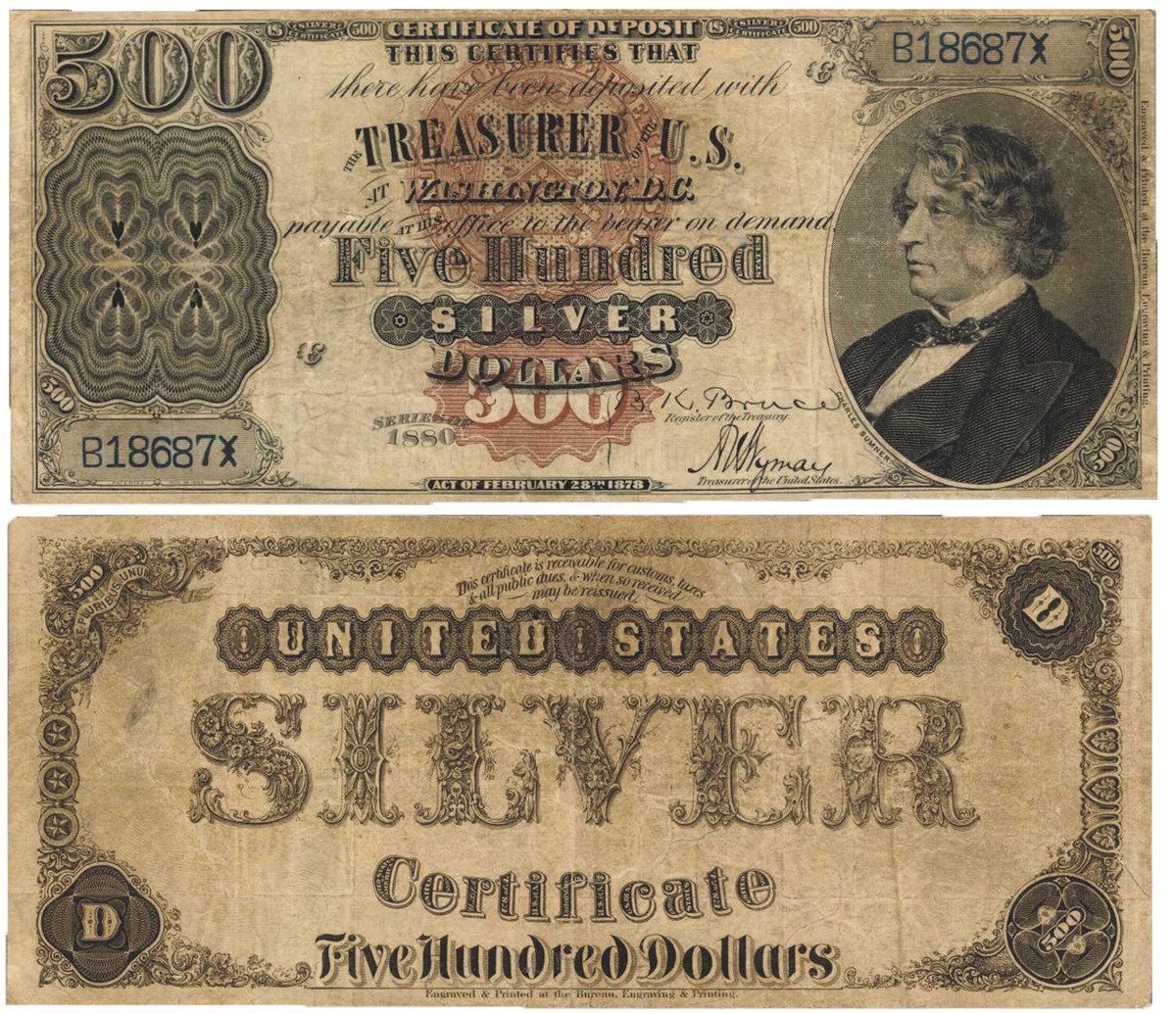 1880 $500 Silver Certificate offered by Stack's Bowers Galleries.