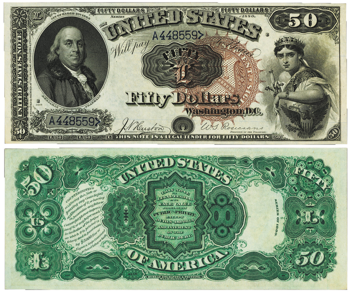 $50 1880 Legal Tender PMG Gem Uncirculated 66 EPQ offered by Heritage Auctions.