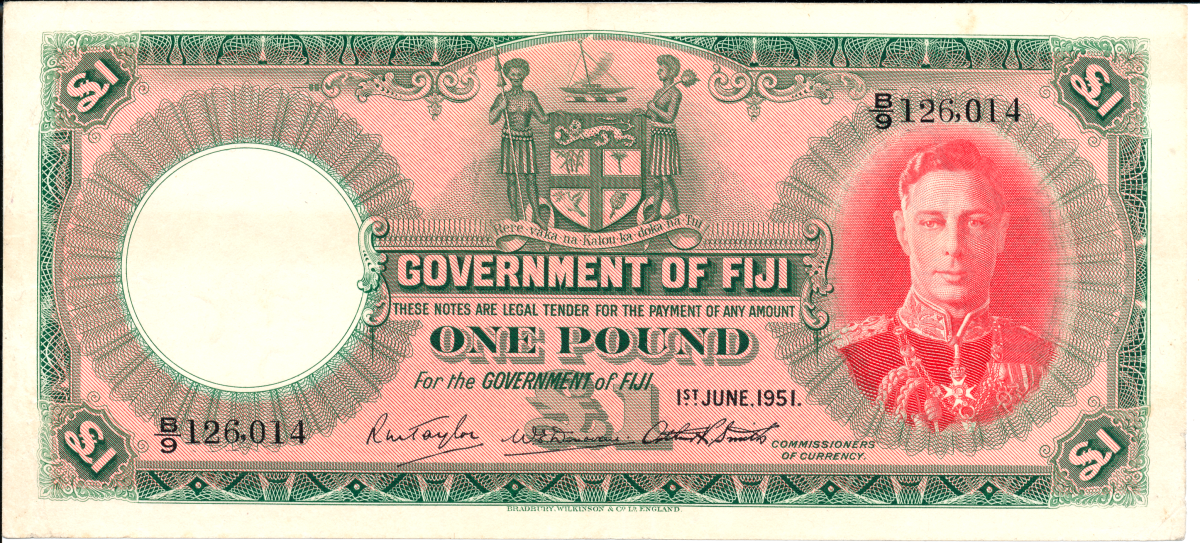 Uncle Scrooge has long had his lucky first dime. Dr. Rodgers has his beloved first note: a Fiji pound dated 1 June 1951 and showing a benign George VI (P-40). Despite it grading 'VF pressed', he has no intentions of ever upgrading it. Image © Ω Collection 2021.