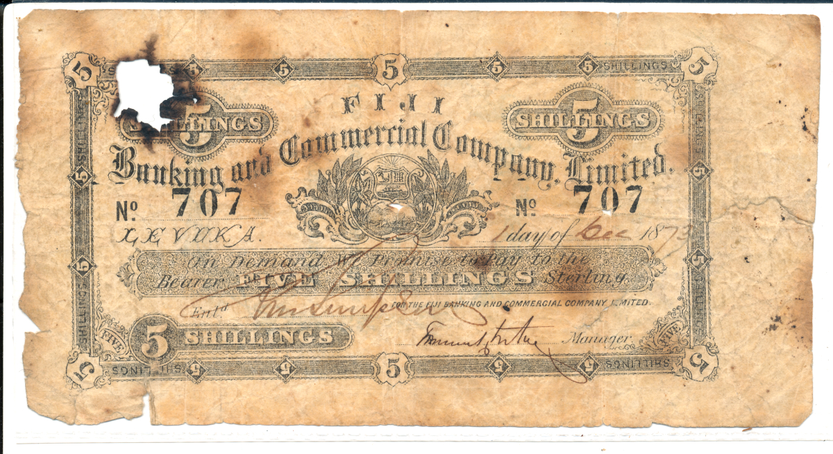 Battered but unbowed, the oldest note in Dr. Rodgers collection. A seldom seen issued 5 shillings of the Fiji Banking & Commercial Company dated 1 December 1873, a time when the FBCC was the official bank of the Kingdom of Fiji i.e. pre-cession. Not listed in SCWPM as such. Image © Ω Collection 2021.