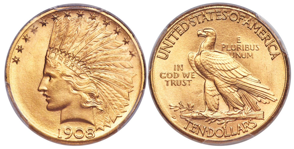 A 1908-D $10 gold Indian Head with motto.