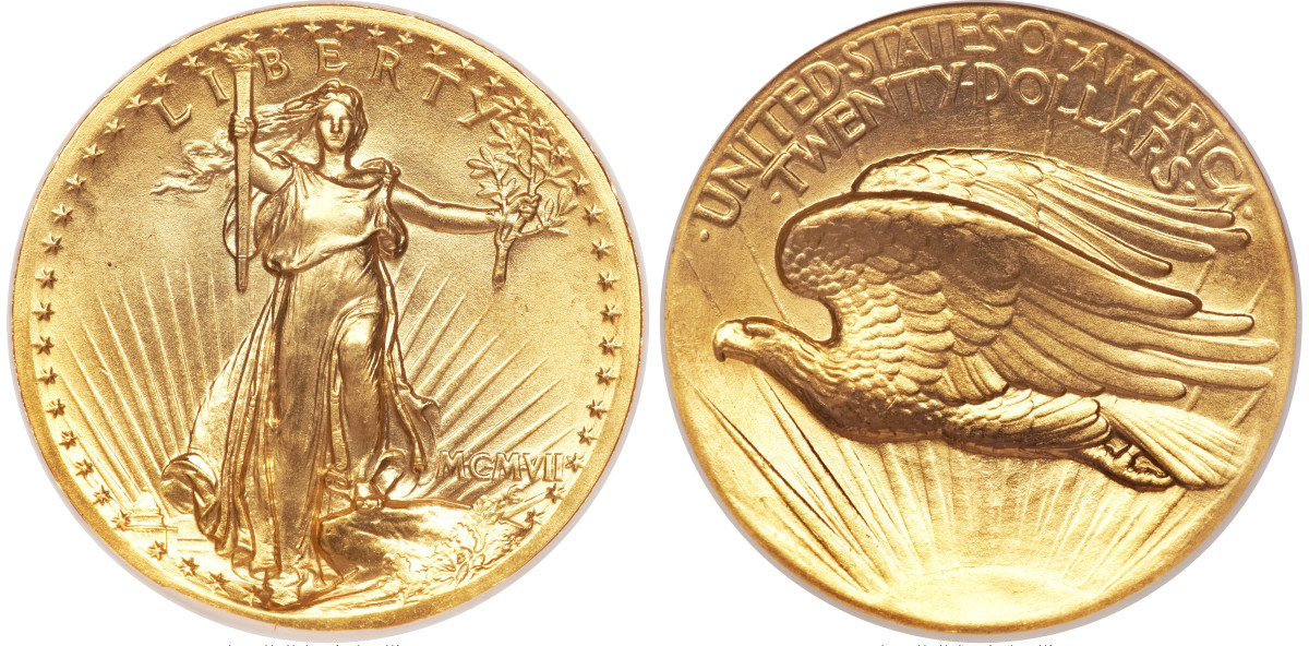 One of the well-known gold $20 double eagles. This coin is one of the wire rim variety. (Images courtesy of Heritage Auctions)